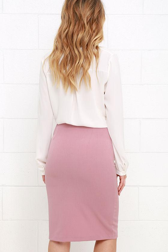 Classy Mauve Pink Skirt - Pencil Skirt - High-Waisted Skirt - $36.00