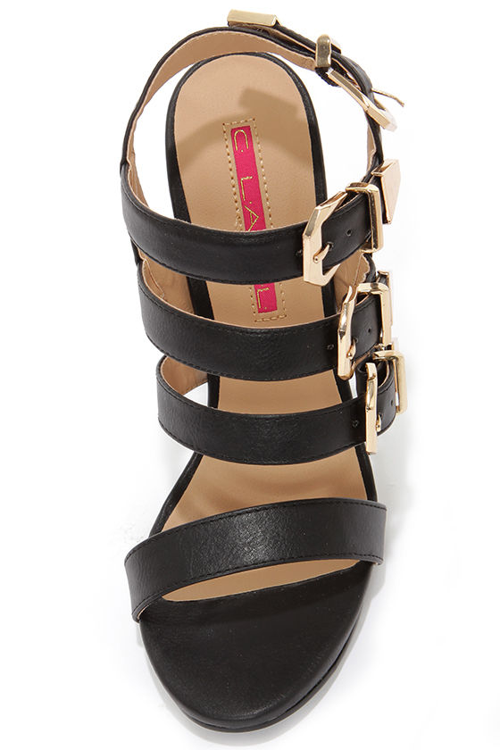 C Label Olive 17 Black and Gold Buckled High Heel Sandals at Lulus.com!