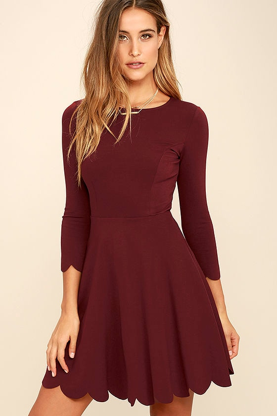 Cumulonimbus Clouds Burgundy Skater Dress 1