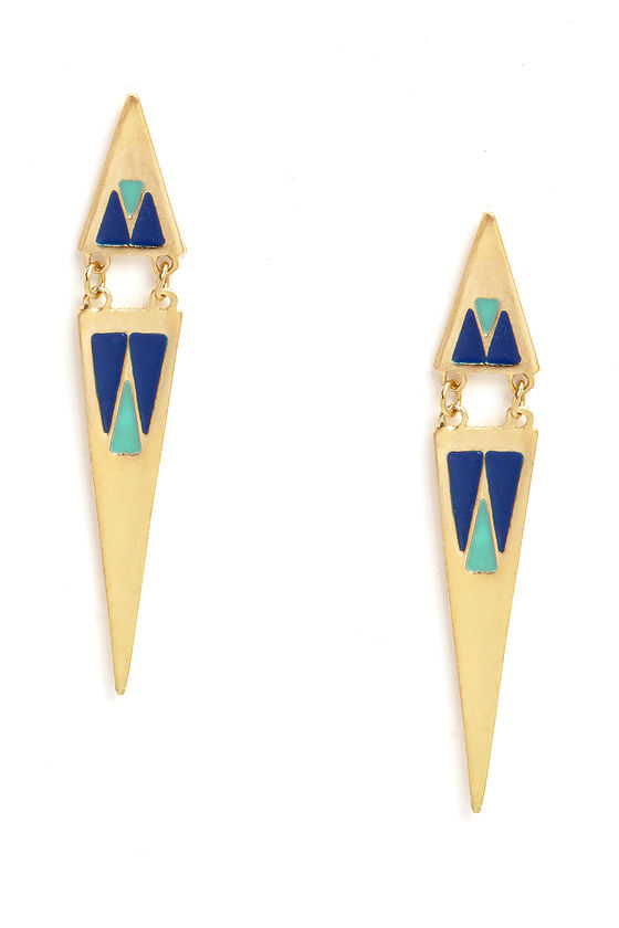 Shred of Chic Blue and Gold Earrings at Lulus.com!