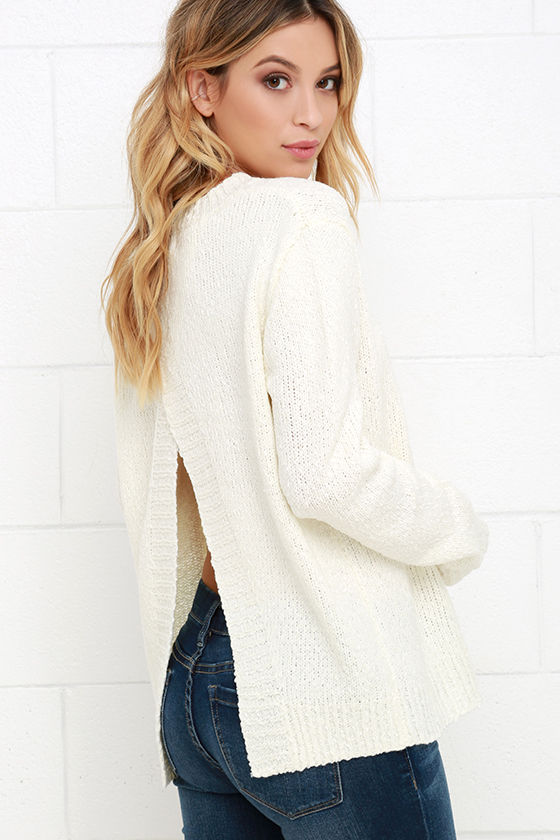 Lulus Get Cozy Ivory Sweater Size Large