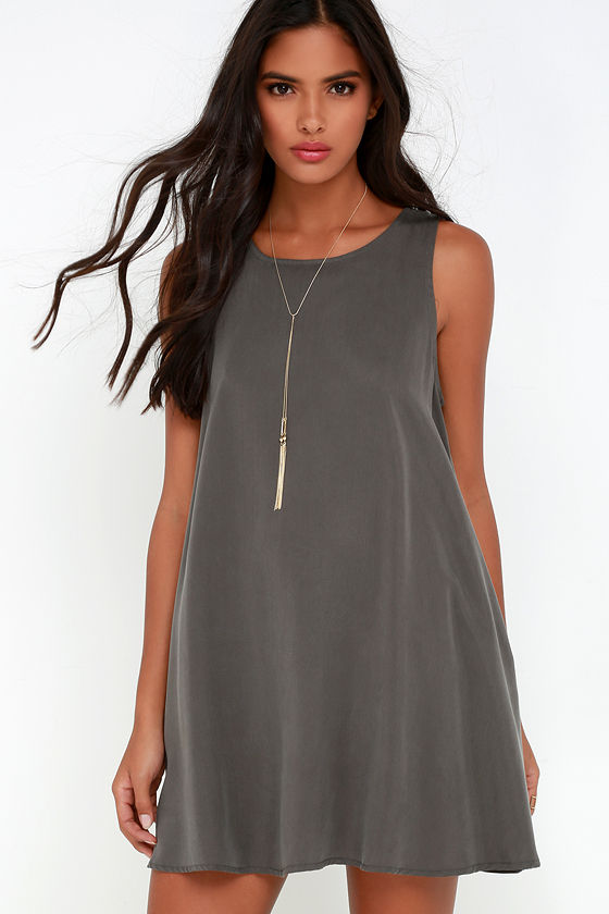 3ad3bfb1cb12 Cute Grey Dress - Swing Dress - Sleeveless Dress -  49.00