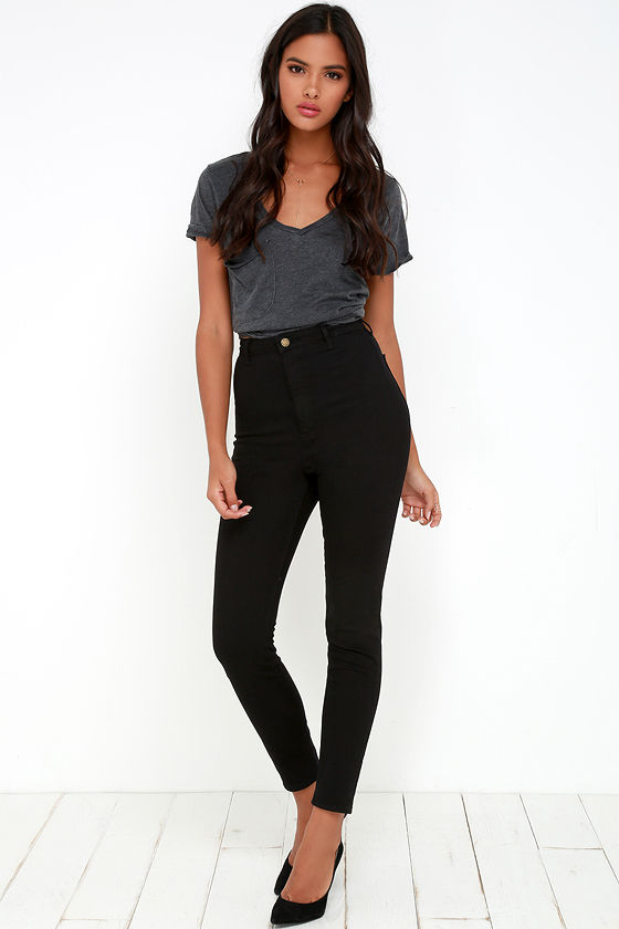 Rollas Scorpion Jeans - Black Jeans - High-Waisted Jeans - $93.00