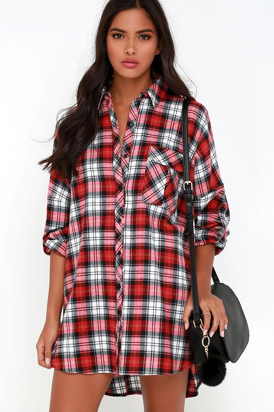 Cute flannel dress red plaid dress shirt dress long for Oversized red plaid shirt