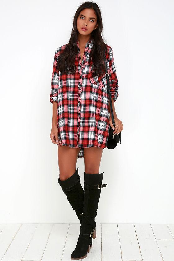 Cute Flannel Dress - Red Plaid Dress - Shirt Dress - Long Sleeve ...
