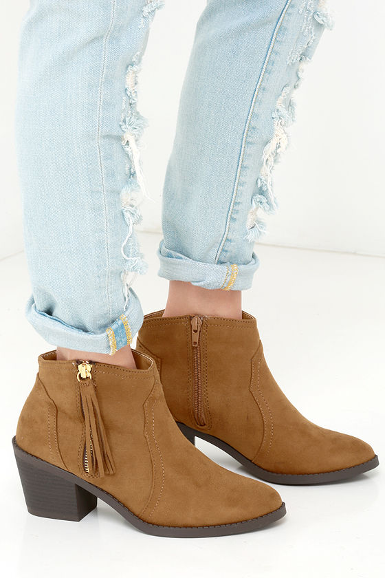 96c051c16feb9 Cute Tan Boots - Tan Booties - Ankle Boots -  34.00