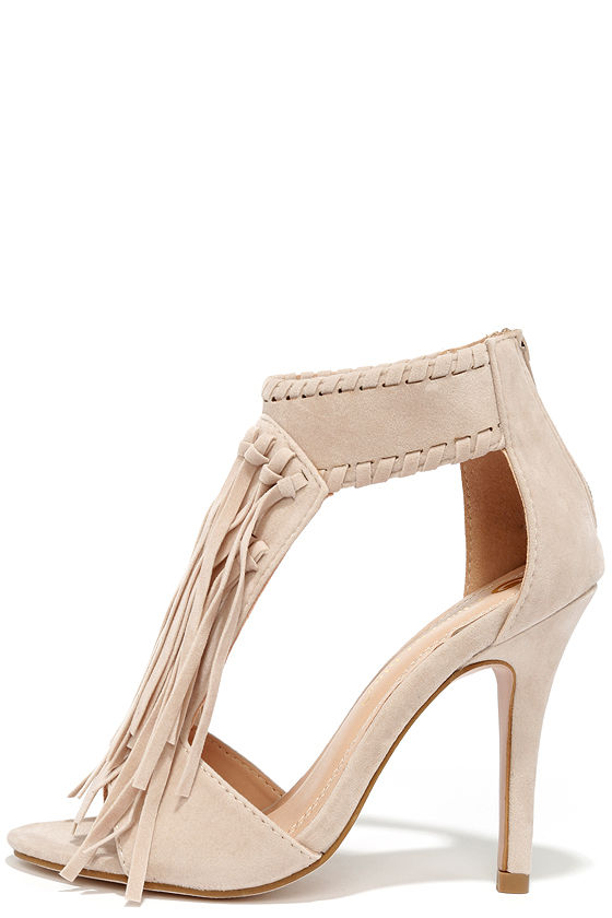 ae7746ea95a Feisty Nude Suede Fringe Sandals