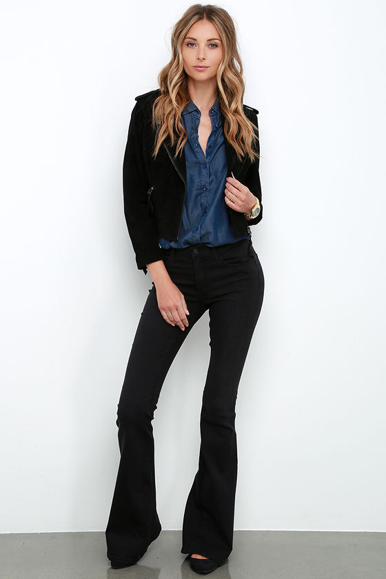 Cool Flared Jeans - Washed Black Jeans - Mid-Rise Jeans - $68.00