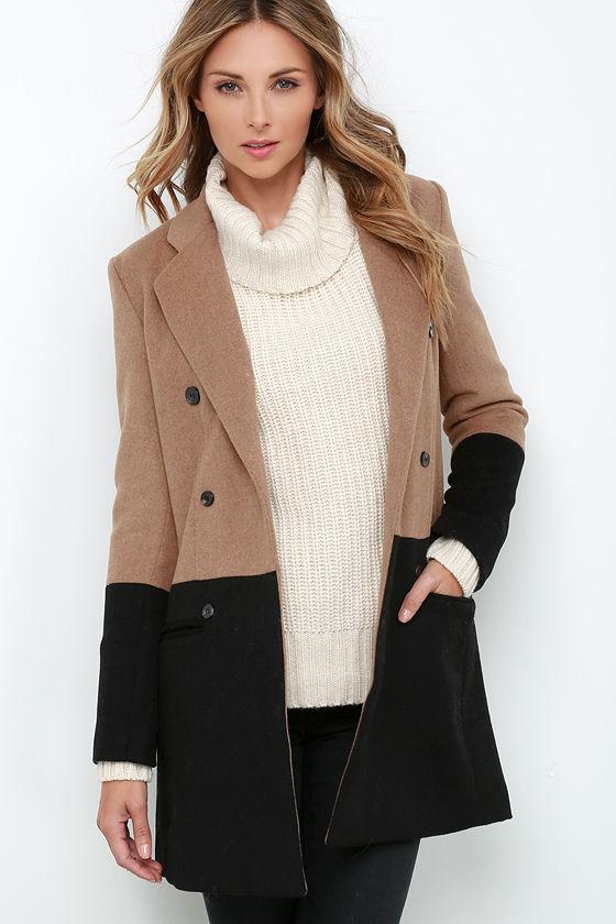 Color Block Coat - Black and Brown Coat - $154.00