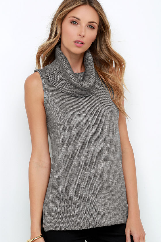 Chic Grey Sweater - Cowl Neck Sweater - Sleeveless Sweater - $59.00