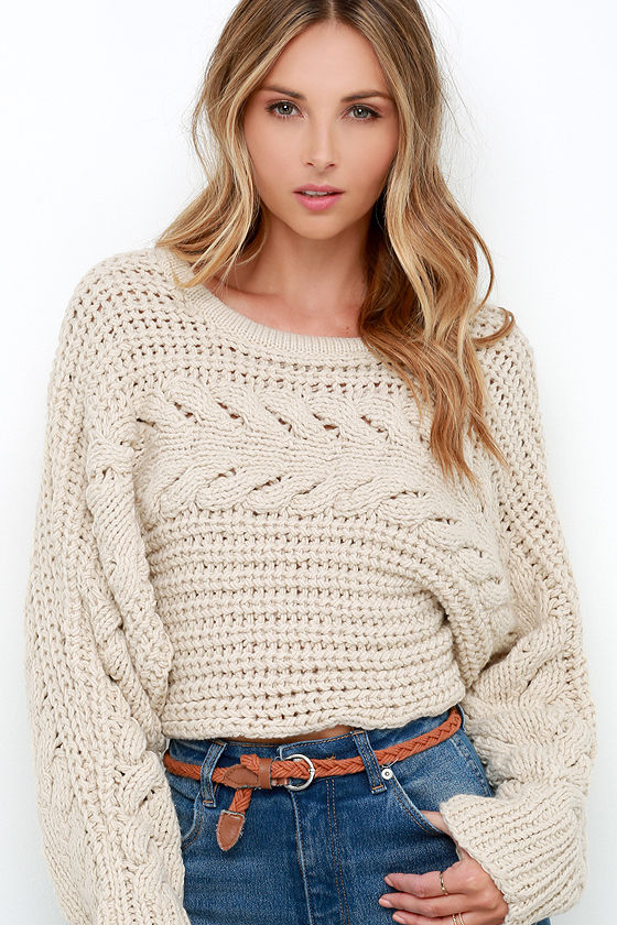 cbc17a5925 Beige Sweater - Cable Knit Sweater - Cropped Sweater -  109.00