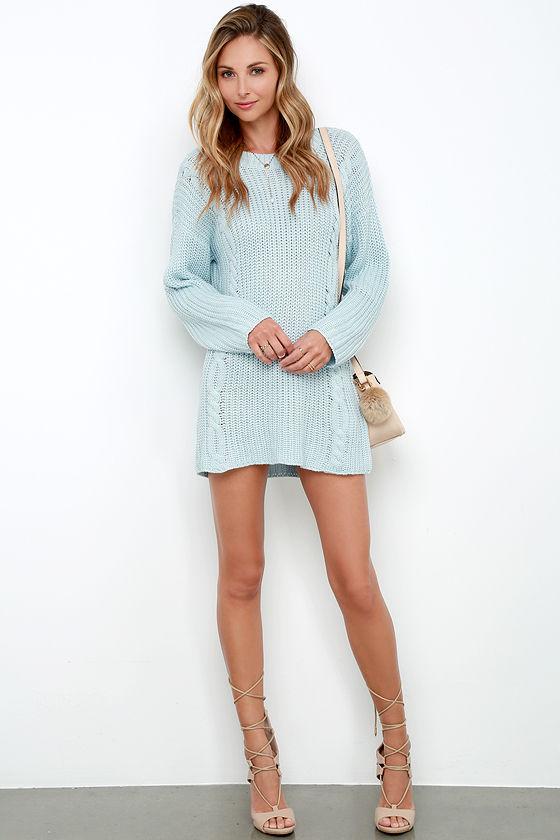 Somedays Lovin' Ralphie Dress - Light Blue Dress - Sweater Dress ...