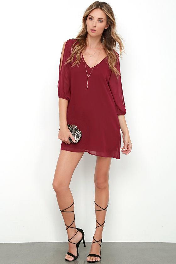 Shifting Dears Wine Red Long Sleeve Dress 2