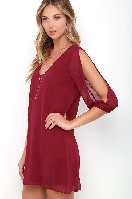 Shifting Dears Wine Red Long Sleeve Dress 3