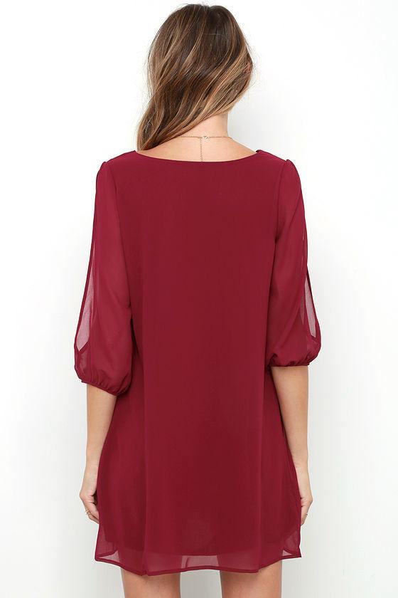 Shifting Dears Wine Red Long Sleeve Dress 4