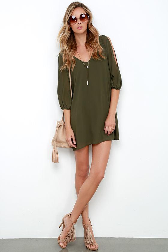 pretty olive green dress shift dress cold shoulder