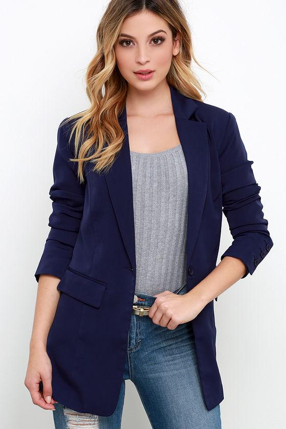 Navy Blue Blazer - Cute Blue Jacket - $74.00