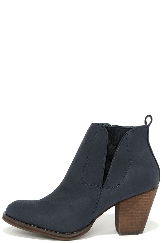 Cute Navy Boots Ankle Boots Booties Navy Blue Boots 8100