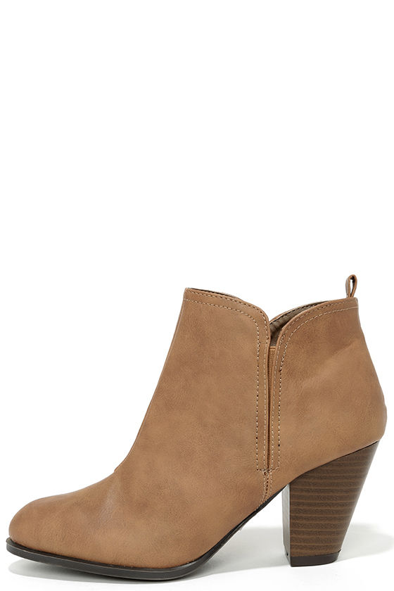 Cute Taupe Booties - High Heel Booties - Ankle Boots - $36.00