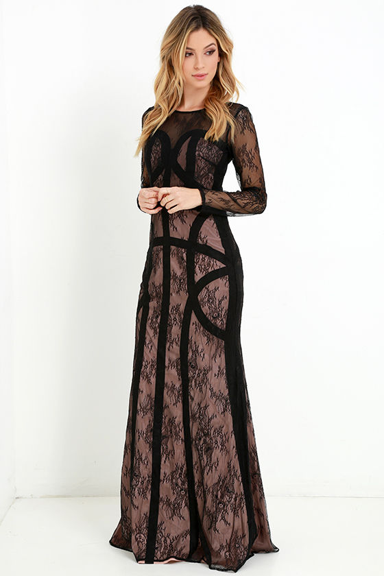 Black and lace maxi dress