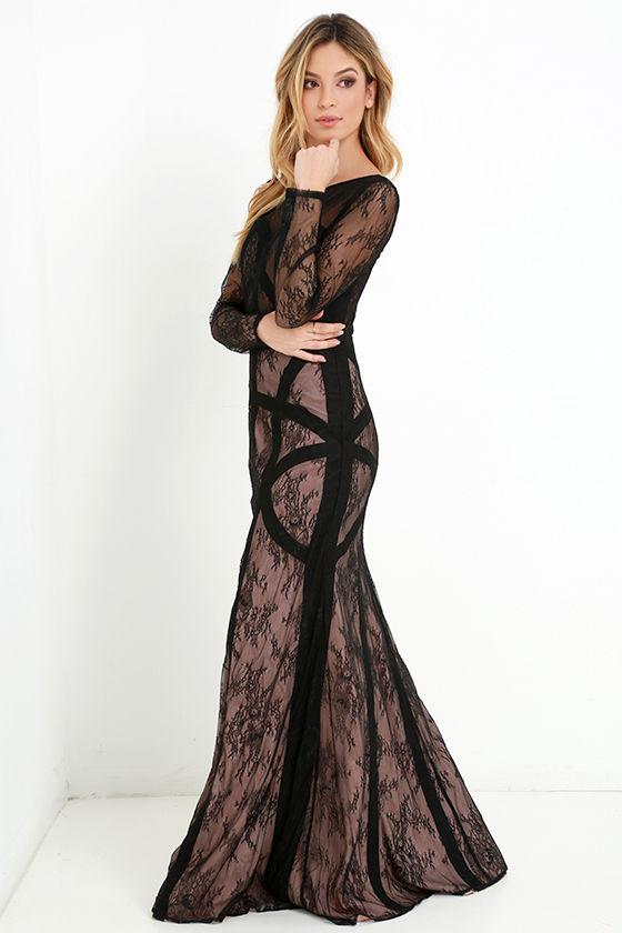 Black Lace Long Beige Dresses