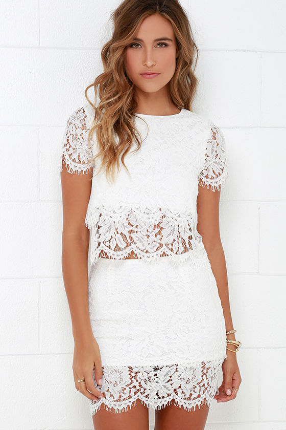 565e418d41d Sexy Ivory Two-Piece Dress - Lace Two-Piece Dress -  62.00