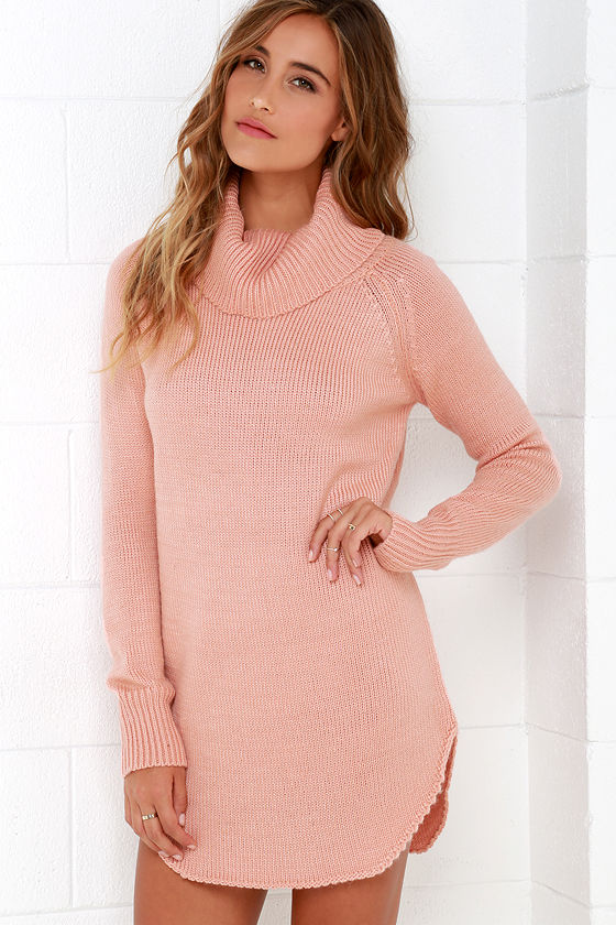 Blush Pink Dress - Sweater Dress - Long Sleeve Dress - $66.00