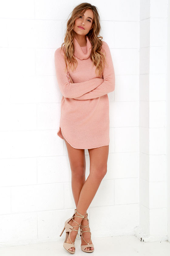 Blush Pink Dress - Sweater Dress - Long Sleeve Dress - $66.00