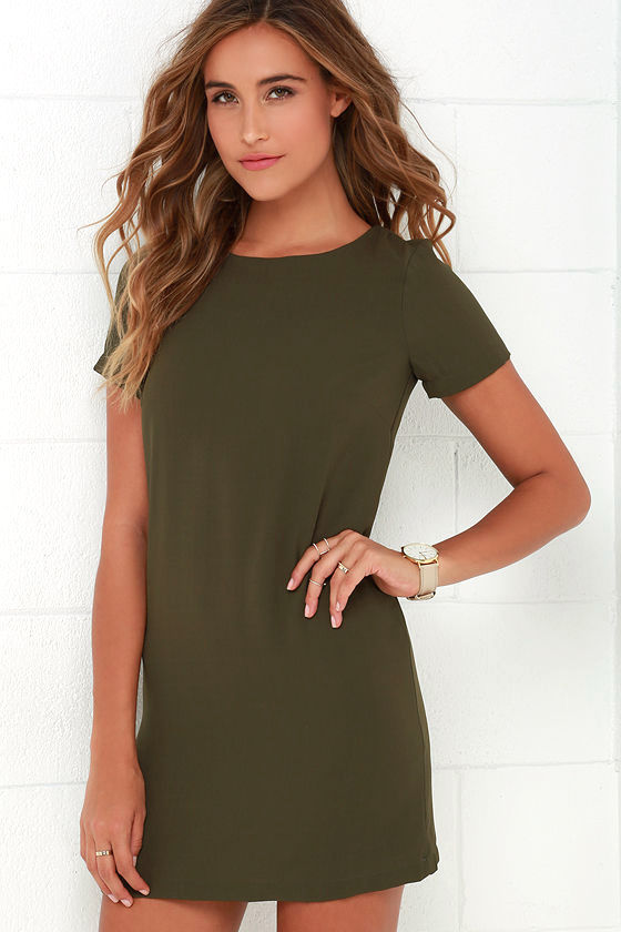 Chic Olive Green Dress - Shift Dress - Short Sleeve Dress - $48.00