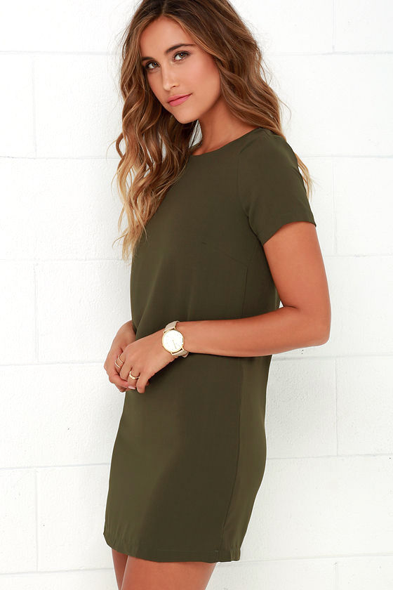 Chic Olive Green Dress - Shift Dress - Short Sleeve Dress - $48.00