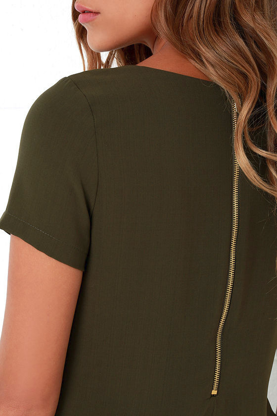 Shift and Shout Olive Green Shift Dress 5