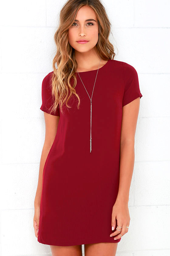 Chic Wine Red Dress - Shift Dress - Short Sleeve Dress - $48.00