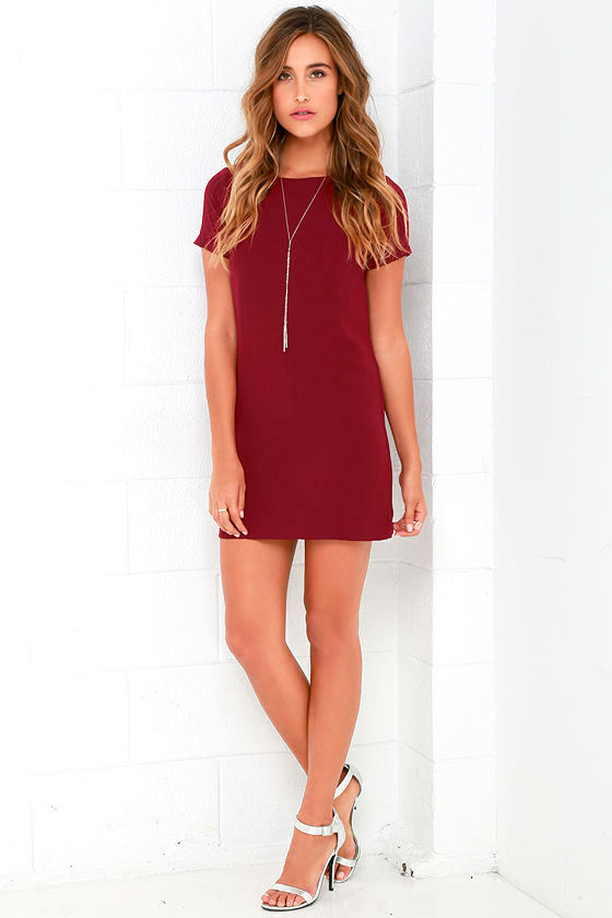 Shift and Shout Wine Red Shift Dress 2