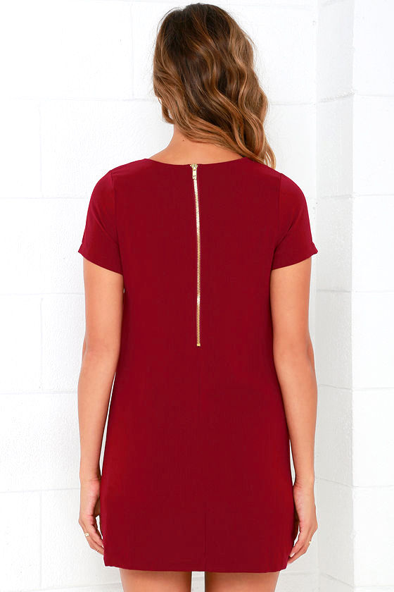 Shift and Shout Wine Red Shift Dress 4