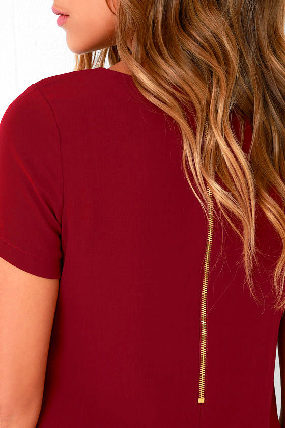 Shift and Shout Wine Red Shift Dress 5