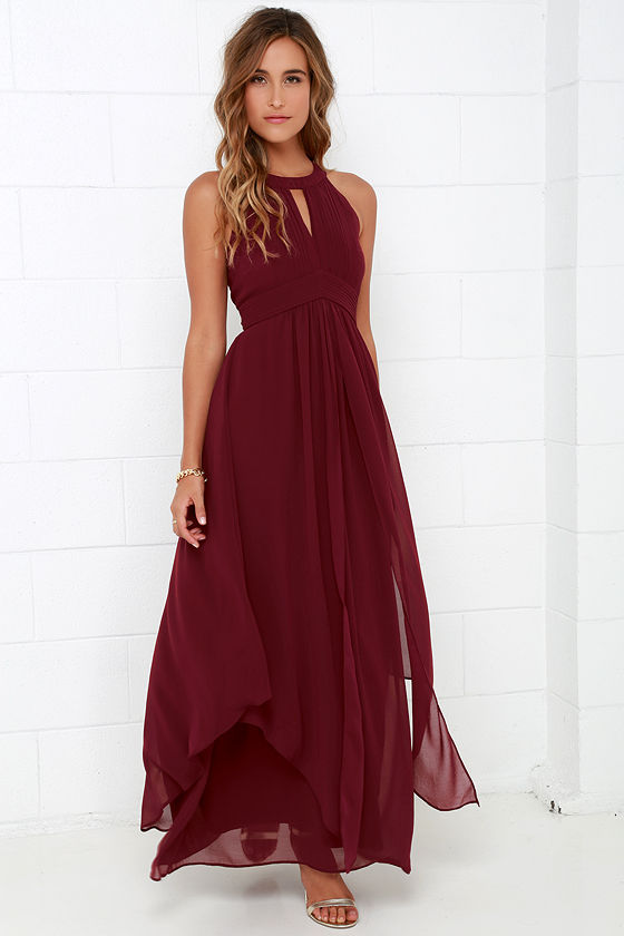 Beautiful Wine Red Maxi Dress - Homecoming Dress