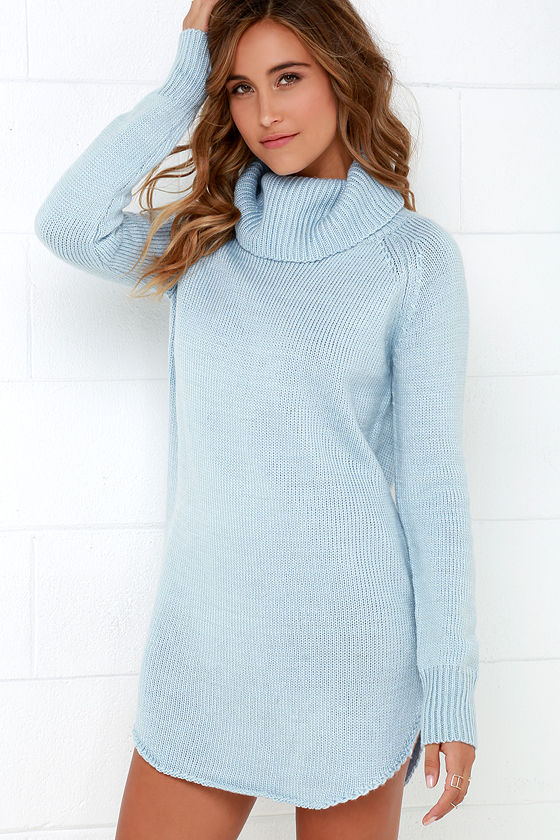 Light Blue Dress - Sweater Dress - Long Sleeve Dress - $66.00