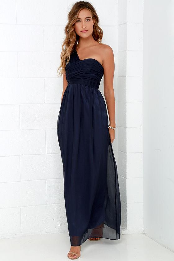 Lovely Navy Blue Dress - Maxi Dress - Chiffon Dress - $98.00