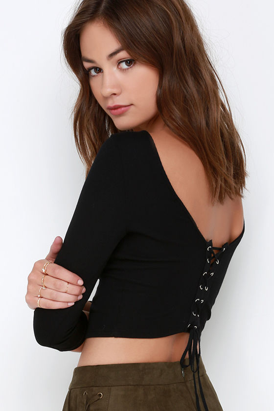7ec1ac8873 Groove is in the Heart Black Lace-Up Crop Top