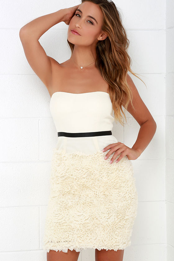 Acclamations Black and Cream Strapless Dress at Lulus.com!