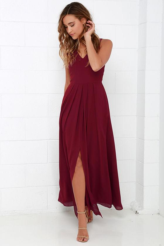 Burgundy Gown Sleeveless Dress Maxi Dress 104 00