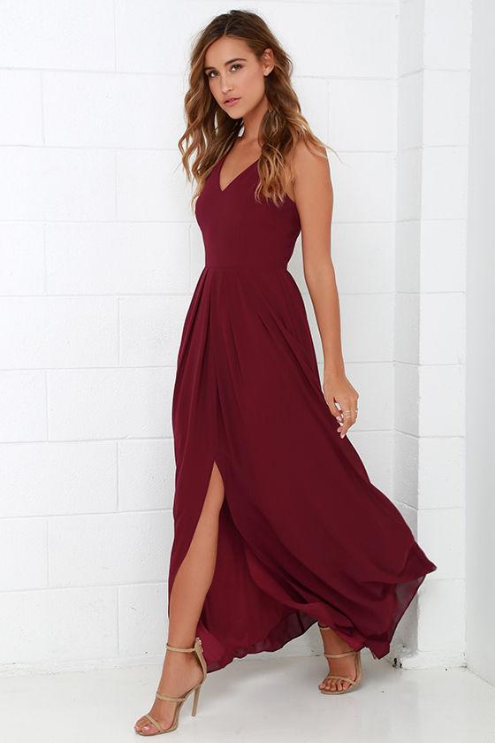 1e8dffccf1 Burgundy Gown - Sleeveless Dress - Maxi Dress - $104.00