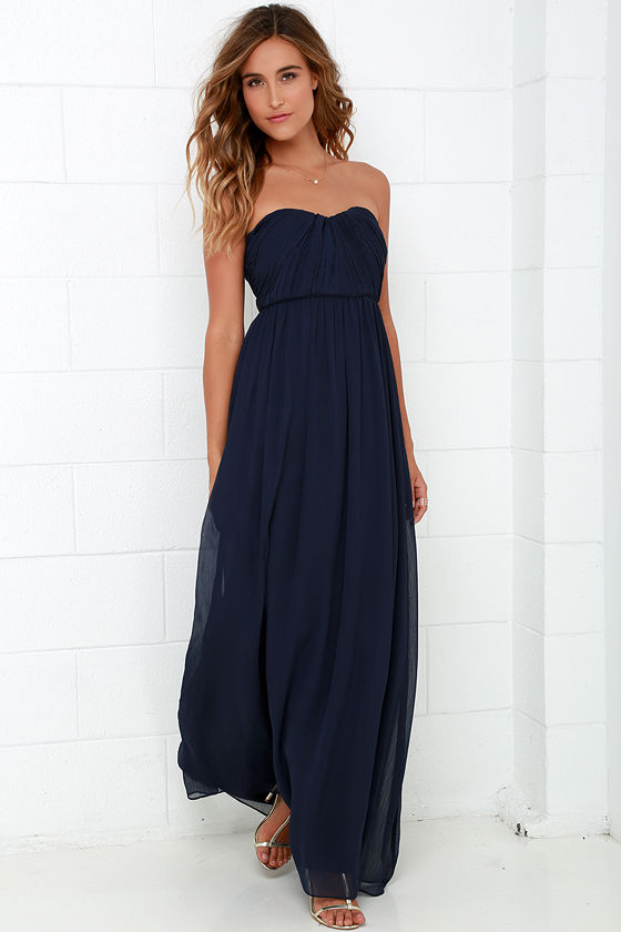 023296cc97eb Navy Blue Gown - Strapless Dress - Maxi Dress