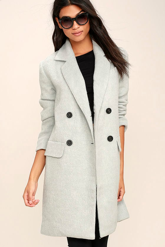 Chic Light Blue Grey Coat - Wool Coat - Pea Coat - $119.00