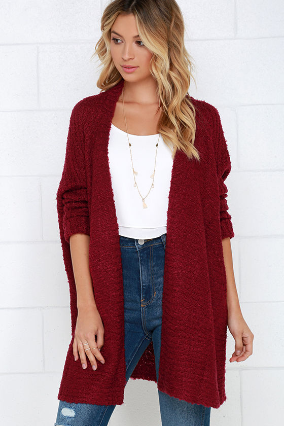 Cozy Wine Red Cardigan Sweater - Open Front Sweater - $60.00