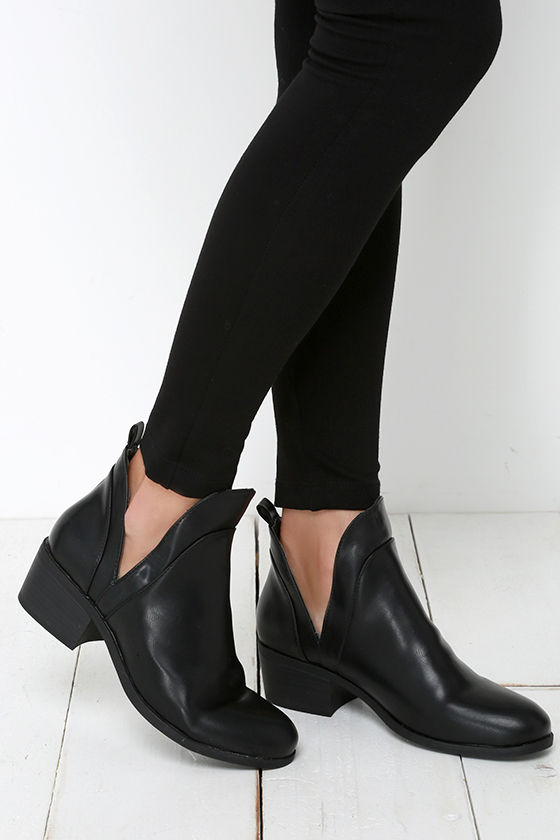 Cute Black Boots Cutout Boots Booties Ankle Boots