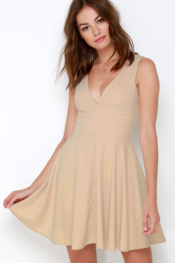 Cute Beige Dress - Skater Dress - Fit and Flare Dress -  49.00 6b661e177