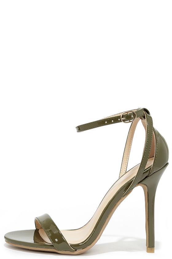 Cute Olive Heels - Ankle Strap Heels