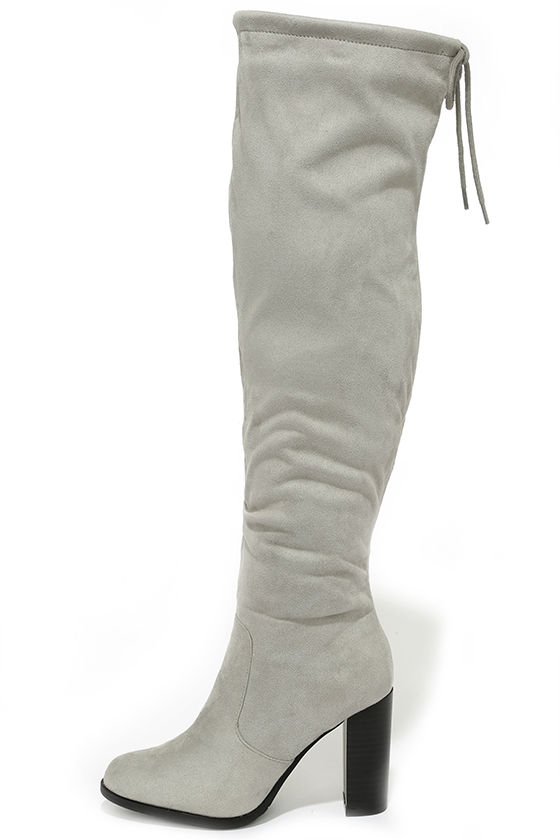 Cute Light Grey Boots - Over the Knee Boots - High Heel Boots ...