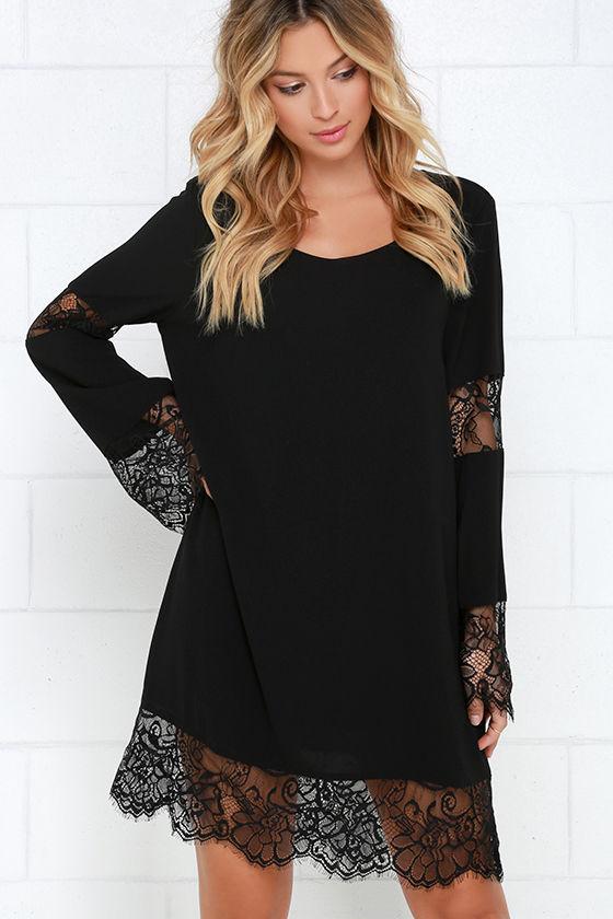 Lace Dress - Black Dress - Long Sleeve Dress - Shift Dress - $90.00